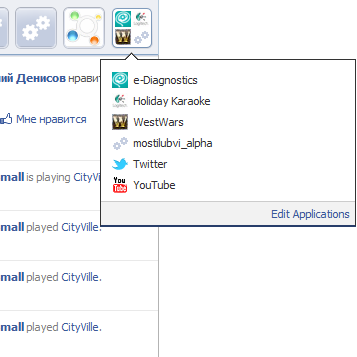 Панель приложений Facebook